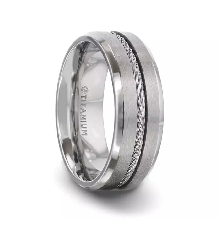 ALBERT Steel Cable Inlaid Brushed Center Titanium Men's Wedding Band With With Beveled Polished Edges - 8mm
