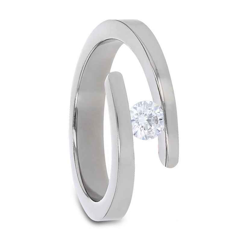 ANNA Tension Set Titanium Diamond Ring - 4MM