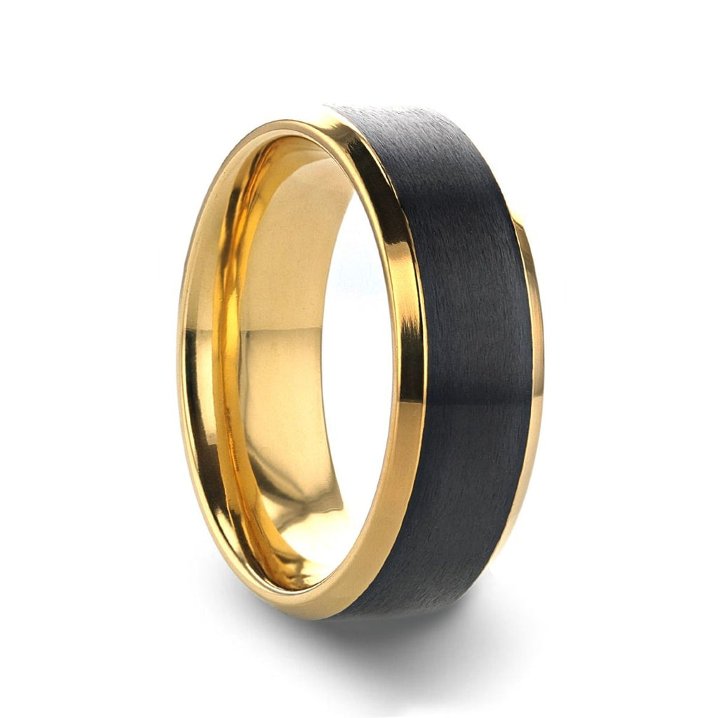 BEAUMONT Gold Plated Titanium Polished Beveled Ring with Brushed Black Center - 8mm