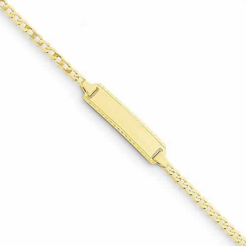 14k 6in Engraveable Curb Link Baby/Child ID Bracelet - AydinsJewelry
