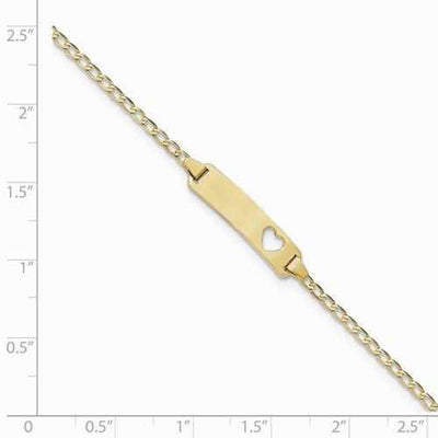 14k Baby ID Curb Bracelet With Heart Cut Out - AydinsJewelry