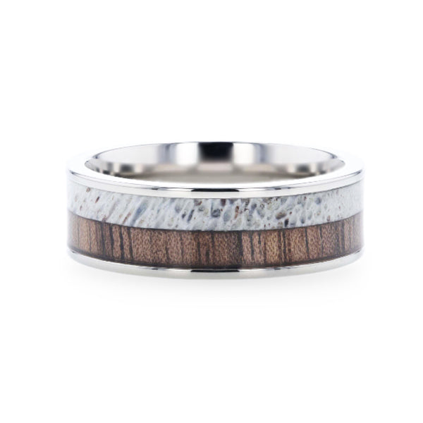 DARBY Titanium Polished Finish Flat Men's Wedding Ring With Deer Antler And Black Walnut Wood Inlay.
