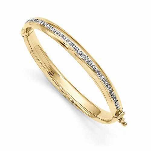 14k Diamond Fascination Hinged Baby Bangle - AydinsJewelry