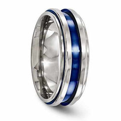 Edward Mirell Titanium Grooved Blue Anodized Band - 7mm - AydinsJewelry