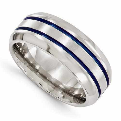 Edward Mirell Titanium With Bevel Band - 8mm - AydinsJewelry