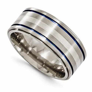 Edward Mirell Titanium w/ Sterling Silver & Blue Anodized - 10mm - Rings - Aydins_Jewelry