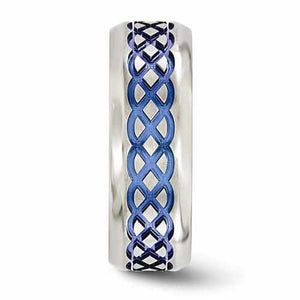 Edward Mirell Titanium Blue Anodized Brushed & Polished - 8mm - Rings - Aydins_Jewelry