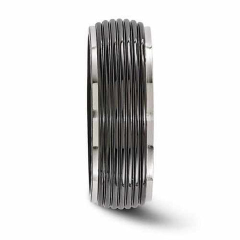 Edward Mirell Titanium Black Ti Ribbed Ring - 8mm - Rings - Aydins_Jewelry
