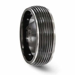 Edward Mirell Titanium Black Ti Ribbed Ring - 8mm - AydinsJewelry