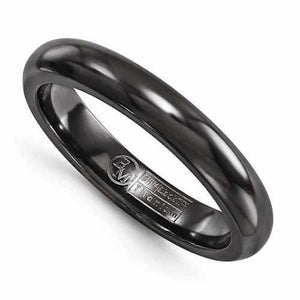 Edward Mirell Titanium Black Ti Domed Ring - 4mm - Rings - Aydins_Jewelry
