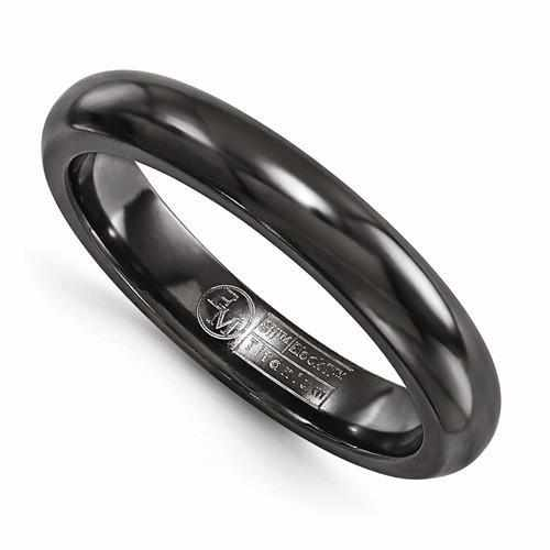 Edward Mirell Titanium Black Ti Domed Ring - 4mm - AydinsJewelry