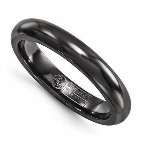 Image of Edward Mirell Titanium Black Ti Domed Ring - 4mm - Rings - Aydins_Jewelry