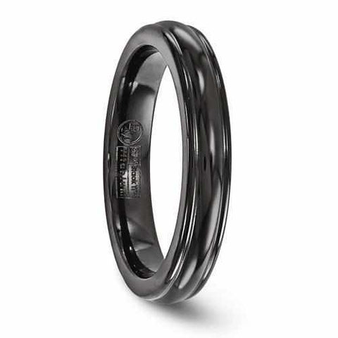 Image of Edward Mirell Titanium Black Ti Triple Domed Ring - 4mm - Rings - Aydins_Jewelry
