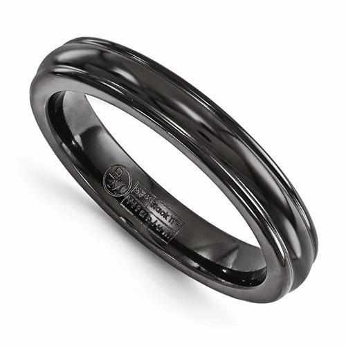 Edward Mirell Titanium Black Ti Triple Domed Ring - 4mm - AydinsJewelry