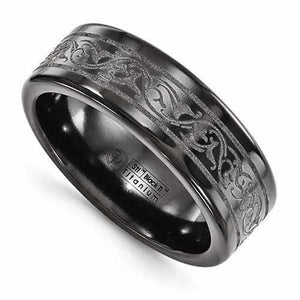 Edward Mirell Titanium Black Ti Laser Ring - 8mm - Rings - Aydins_Jewelry