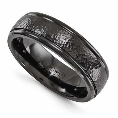 Edward Mirell Titanium Black Ti Hammered Ring - 7mm - AydinsJewelry