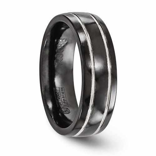 Edward Mirell Titanium Black Ti & Grey Grooved Ring - 7mm - Rings - Aydins_Jewelry