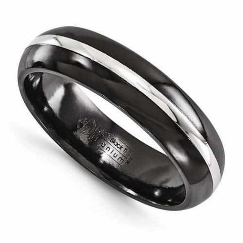 Image of Edward Mirell Black Ti Domed & Sterling Silver Inlay - 6mm - Rings - Aydins_Jewelry