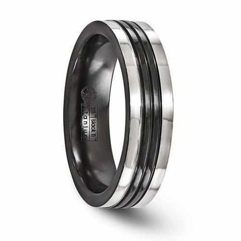 Image of Edward Mirell Black Ti w/ Grey Grooves - 6mm - Rings - Aydins_Jewelry