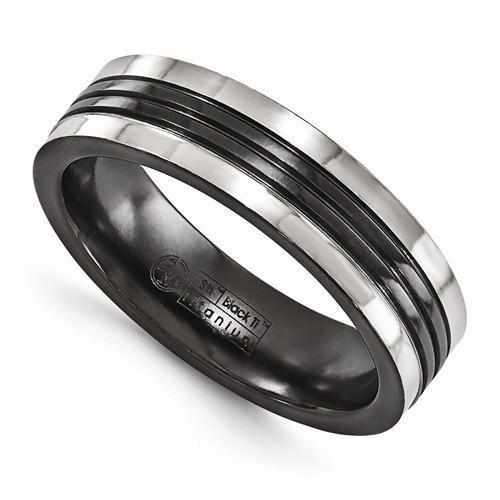 Edward Mirell Black Ti w/ Grey Grooves - 6mm - Rings - Aydins_Jewelry