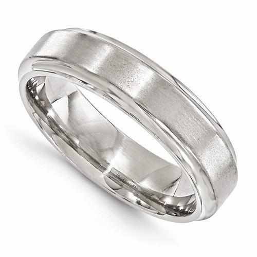 Edward Mirell Titanium Brushed & Polished Beveled - 6mm - Rings - Aydins_Jewelry