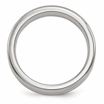 Edward Mirell Titanium Satin & Polished Millgrain Band - 6mm - AydinsJewelry