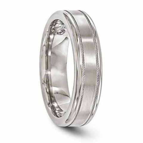 Edward Mirell Titanium Ring with Satin Center and Dual Offset Milgrains - 6MM - Rings - Aydins_Jewelry