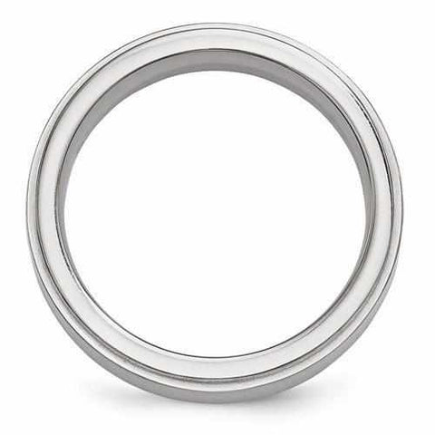 Edward Mirell Titanium Brushed & Polished Band - 6mm - Rings - Aydins_Jewelry