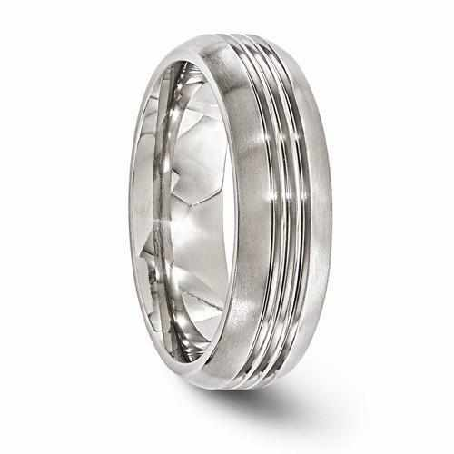 Edward Mirell Titanium Polished Grooved Band - 7mm - Rings - Aydins_Jewelry