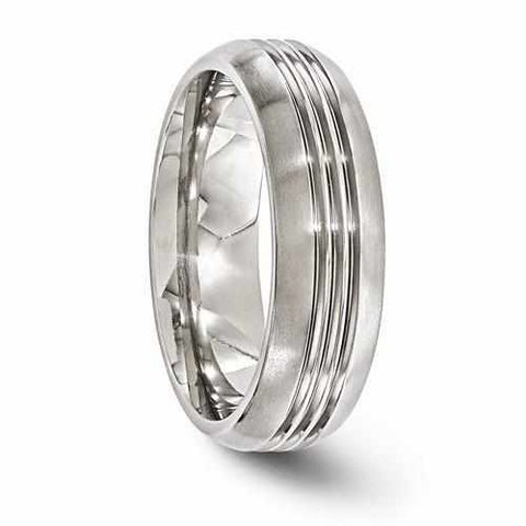 Image of Edward Mirell Titanium Polished Grooved Band - 7mm - Rings - Aydins_Jewelry