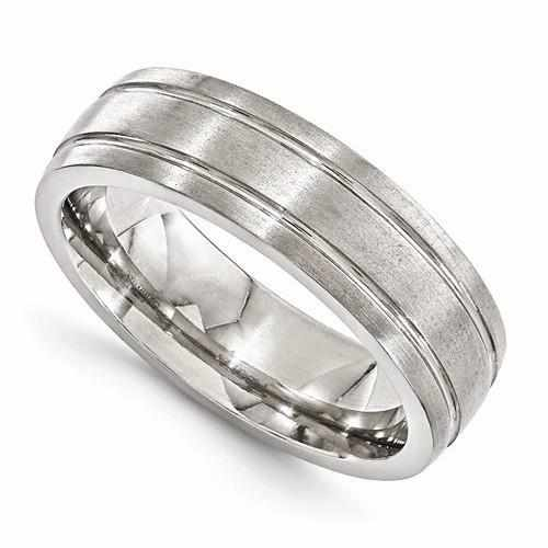 Edward Mirell Titanium Brushed & Polished Grooved Ring - 7mm - AydinsJewelry