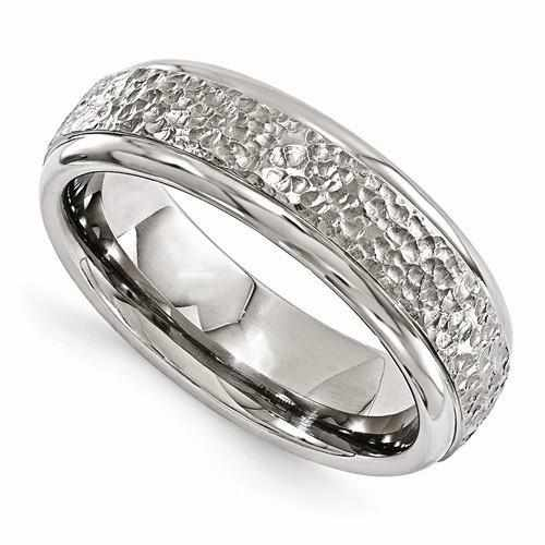 Edward Mirell Titanium Brushed & Polished Hammered Ring - 7mm - AydinsJewelry