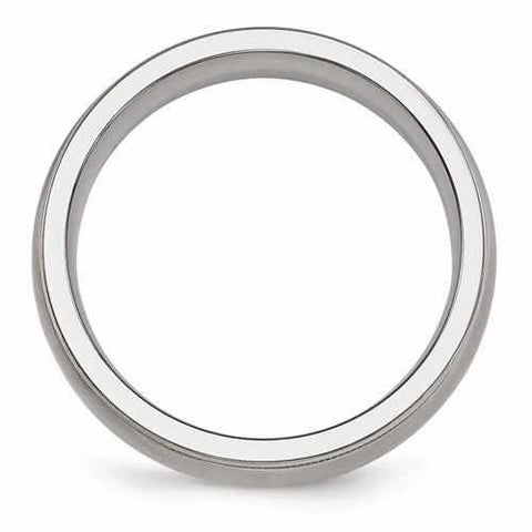 Edward Mirell Titanium Brushed & Polished Milgrain Band - 6mm - Rings - Aydins_Jewelry