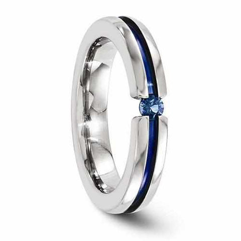 Image of Edward Mirell Titanium Sapphire & Blue Anodized Grooved - 4mm - Rings - Aydins_Jewelry