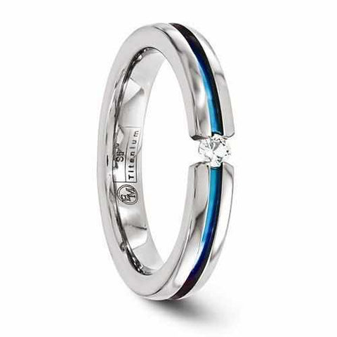 Edward Mirell Titanium Ring with White Sapphire & Anodized Groove - 4MM - Rings - Aydins_Jewelry