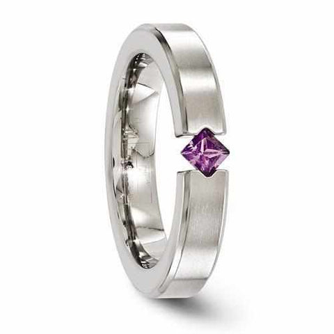 Edward Mirell Titanium Satin Finish w/ Amethyst - 4mm - Rings - Aydins_Jewelry
