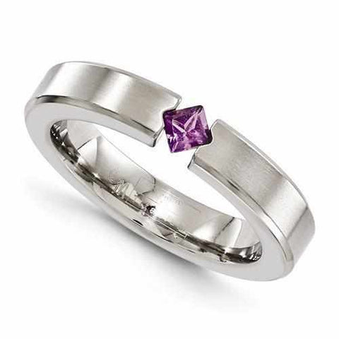 Image of Edward Mirell Titanium Satin Finish w/ Amethyst - 4mm - Rings - Aydins_Jewelry