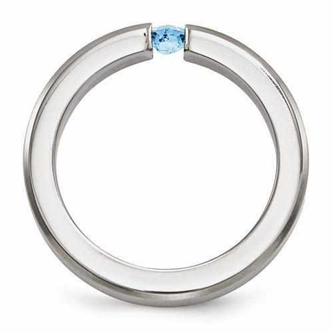 Edward Mirell Titanium Satin Finish w/ Blue Topaz - 4mm - Rings - Aydins_Jewelry