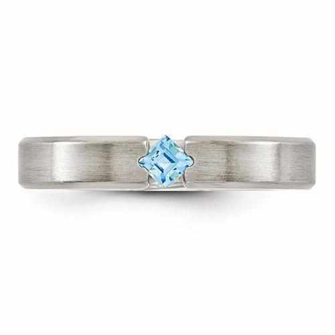 Image of Edward Mirell Titanium Satin Finish w/ Blue Topaz - 4mm - Rings - Aydins_Jewelry