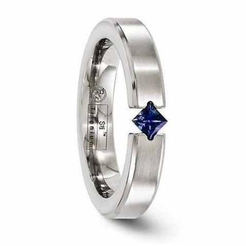 Image of Edward Mirell Titanium Satin Finish w/ Sapphire - 4mm - Rings - Aydins_Jewelry