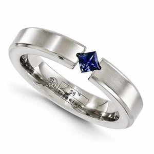 Edward Mirell Titanium Satin Finish w/ Sapphire - 4mm - Rings - Aydins_Jewelry