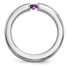 Edward Mirell Titanium Satin Amethyst & Purple Anodized - 4mm - AydinsJewelry