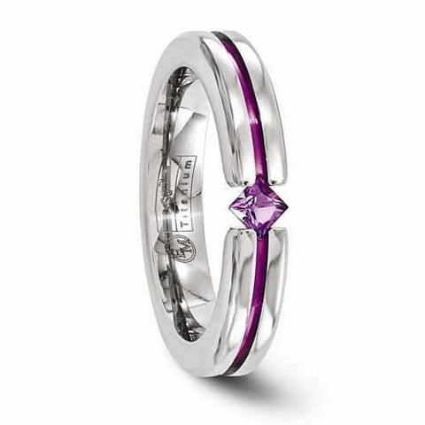Image of Edward Mirell Titanium Satin Amethyst & Purple Anodized - 4mm - Rings - Aydins_Jewelry