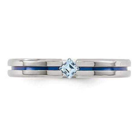 Image of Edward Mirell w/ Blue Topaz And Blue Anodized - 4mm - Rings - Aydins_Jewelry