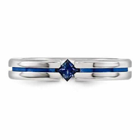 Image of Edward Mirell Titanium Sapphire & Blue Anodized - 4mm - Rings - Aydins_Jewelry