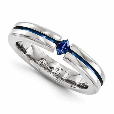Edward Mirell Titanium Sapphire & Blue Anodized - 4mm - Rings - Aydins_Jewelry