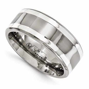 Edward Mirell Titanium With Sterling Silver Inlay - 9mm - Rings - Aydins_Jewelry