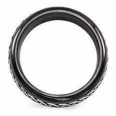 Edward Mirell Black Ti Patterned Band - 9mm - AydinsJewelry
