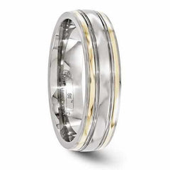 Edward Mirell Titanium & 14K Edge Polished Band - 6mm - AydinsJewelry