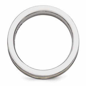 Edward Mirell Titanium And 14K Brushed & Polished Ring - 6mm - Rings - Aydins_Jewelry